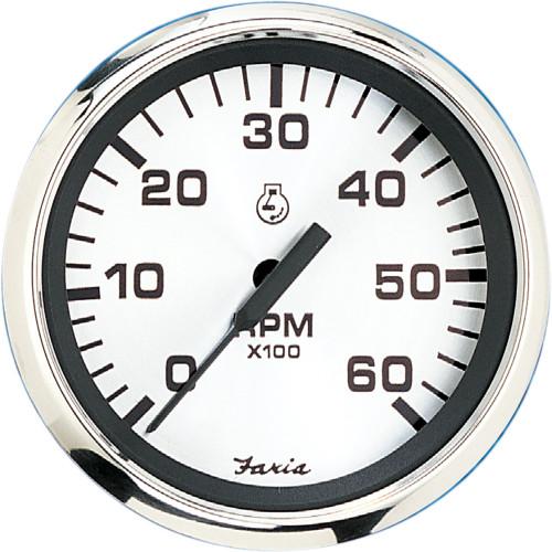 "FARIA 4"" TACHOMETER (6000 RPM) GAS (INBOARD & I/O) - SPUN SILVER"