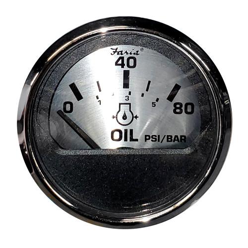 "FARIA 2"" OIL PRESSURE GAUGE (80 PSI) - SPUN SILVER"