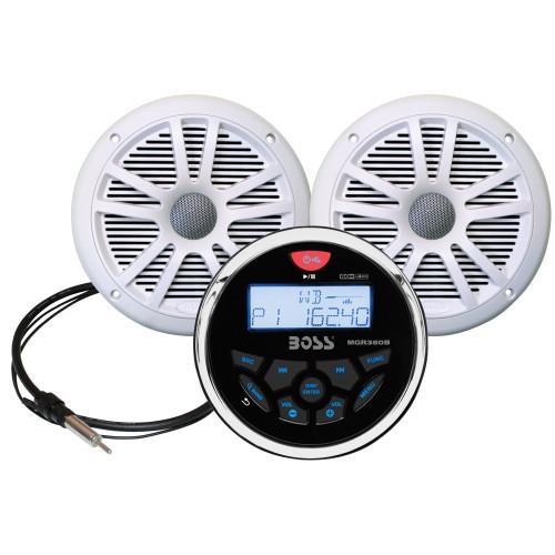 """Boss Audio MCKGB350W.6 Combo - Marine Gauge Radio w/Marine Antenna & 2 6.5"""" Speakers - White"""