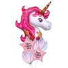 Personalised Magical Pink Unicorn Dream Balloons Bouquet