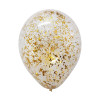 12'' Metallic Confetti Clear Latex Balloons - Gold