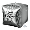"15""/38cm Personalised Cube Shaped Balloon - Silver"
