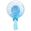 """24"""" Crystal Clear Transparent Blue Confetti Dots Printed Balloon - It's A Boy Latex Balloon Stuffed styled with 1pc Light Blue Tassel Tail"""