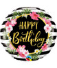 [Party] Birthday Hibiscus Stripes Foil Balloon (18inch)