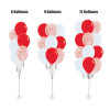 "12"" Metallic Red Confetti Balloons Cluster - Fashion Red & White"
