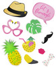 (310gsm Art Card cut-out) Tropical Flamingo Party Photobooth Props (20 Designs, DIY Kit)
