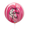30'' Personalised Jumbo Marble Pattern Latex Balloon - Strawberry Marble