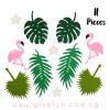 Hawaiian Tropical Garland (2.5meter) - Flamingo & Palm Leaves