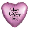 "18"" Personalised Satin Luxe Heart Foil Balloon - Flamingo"