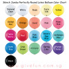 "36"" Jumbo Perfectly Round Latex Balloon Color Chart"