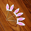 Easter Bunny Glitter Ears Cupcake Toppers (3pcs)