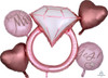 Blush Wedding Diamond Ring Balloons Bouquet