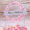 Happy Birthday Banner Wreath Cake Topper - Pink