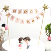Happy Birthday Bunting Cake Topper - Baby Pink