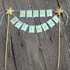 Happy Birthday Bunting Cake Topper - Baby Blue