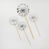 Assorted Pattern Paper Fan Cake Toppers (4pcs) - Metallic Silver