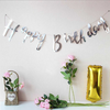 Reflective Mirror Happy Birthday Bunting (1 meter)- Silver