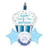 Happy 1st Birthday Cupcake Boy Star Foil Balloons Bouquet
