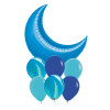 Giant Crescent Moon Balloons Bouquet- Metallic Blue