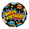 Happy Birthday Super Hero Pop Art Black Foil Balloon (18inch)