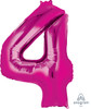 "34"" Giant Number Foil Balloon (Metallic Pink) - Number '4'"