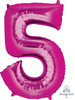"""34"""" Giant Number Foil Balloon (Metallic Pink) - Number '5'"""