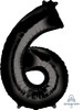"34"" Giant Number Foil Balloon (Black) - Number '6'"
