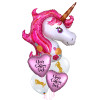 Personalised Magical Pink Unicorn Love Balloons Bouquet