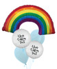 Personalised Iridescent Rainbow and Cloud Balloons Bouquet