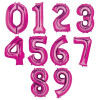 "34"" Giant Number Foil Balloon (Metalic Pink)"