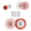 Assorted Patterns Paper Fans Set (6pcs) - Metallic Rose Gold