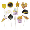 (310 gsm Art Card cut-out) Happy Birthday Gold Glitter Photobooth Props (12-Designs, Ready Made)