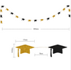Paper Bunting (4 Meter) - Black & Gold Graduation Hat