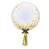"""24"""" Crystal Clear Transparent Confetti Dots Printed Balloon - Gold Confetti Dots (style with 1pc tassel tail)"""