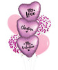 [My Love, My Valentine] Personalised Name My Love, My Valentine Balloons Bouquet - Satin Flamingo