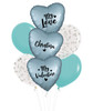 [My Love, My Valentine] Personalised Name My Love, My Valentine Balloons Bouquet - Satin Steel Blue