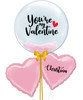 """[My Love, My Valentine] 24"""" Personalised Name Crystal Clear Pink Feathers Balloon - You're My Valentine"""