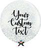 36'' Personalised Jumbo Perfectly Round Balloon - Round Confetti (1cm) Cream