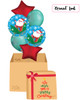 [Christmas Balloon Surprise Box] Happy Santa In Sleigh Satin Luxe Sangria Red Star Balloons Bouquet