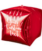 "15""/38cm Personalised Cubez Cube Shaped Balloon - Red"