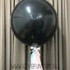 "36"" Gender Reveal Giant Perfectly Round Latex Balloon - Rectangle Confetti Filled"