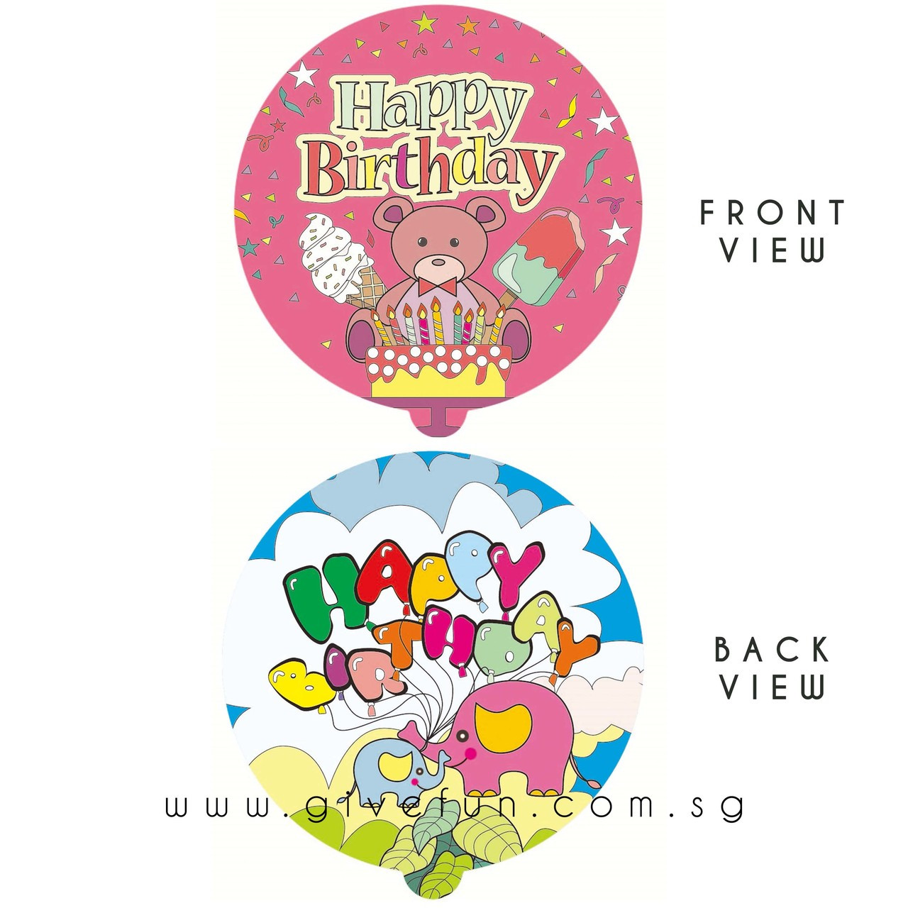 Auto Air-Filled Coloring Balloons- Happy Birthday Series - Give Fun
