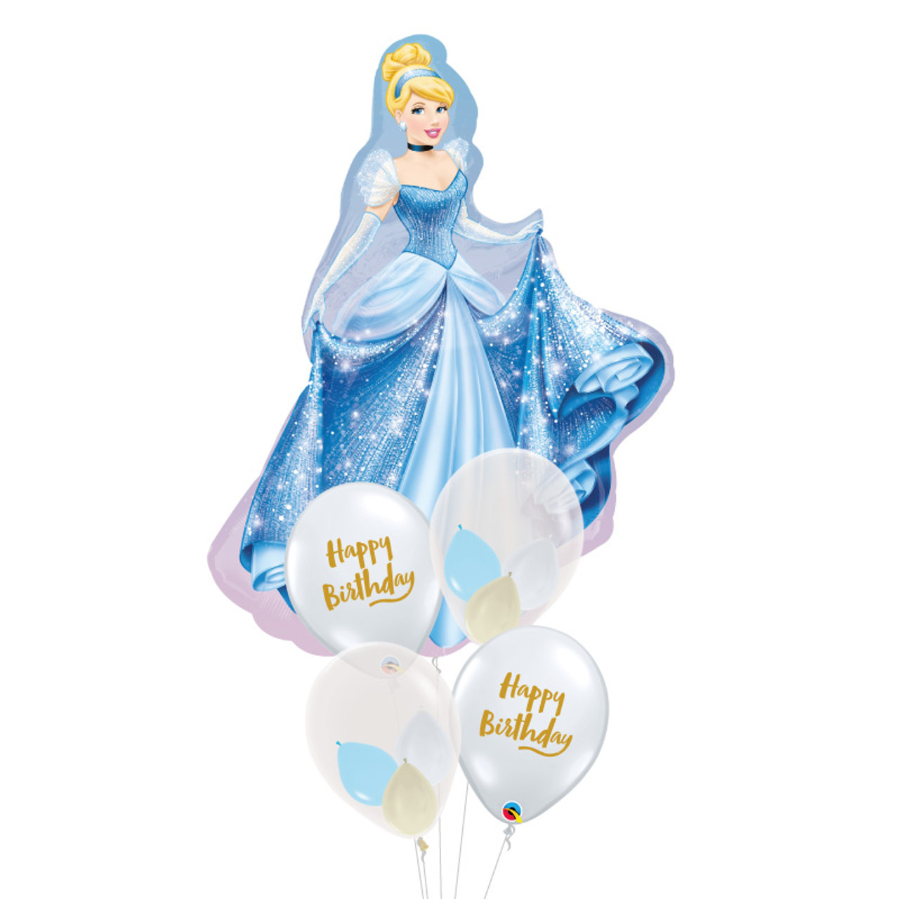 Cinderella Happy Birthday Balloons Bouquet