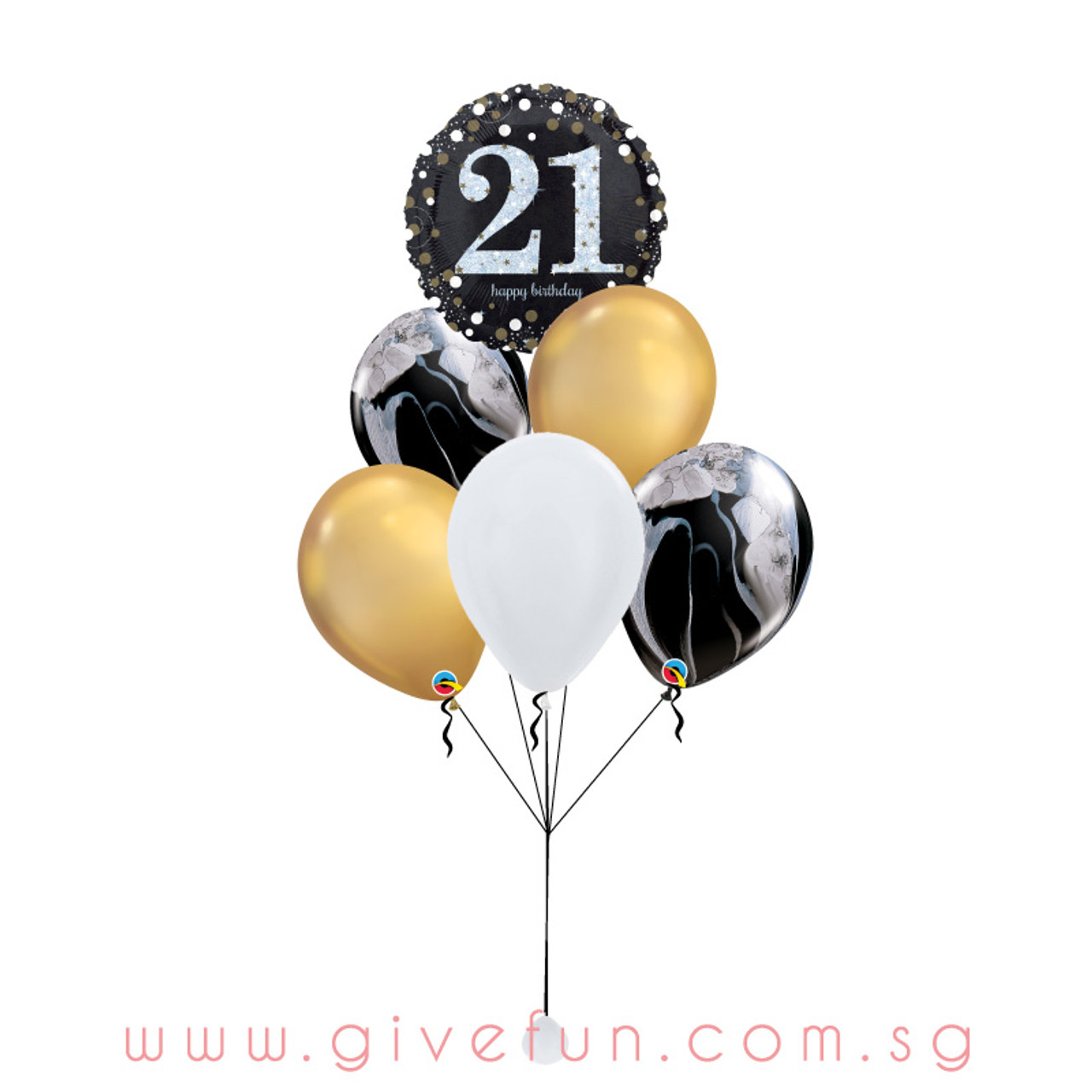 Party Marblelous Happy 21st Birthday Balloons Bouquet Give Fun