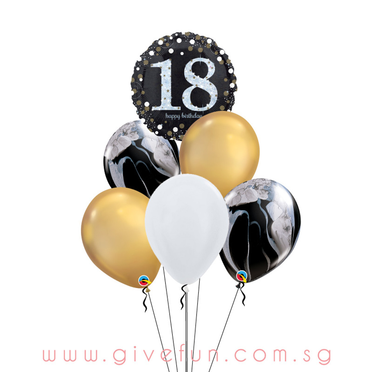 Marblelous Happy 18th Birthday Balloons Bouquet