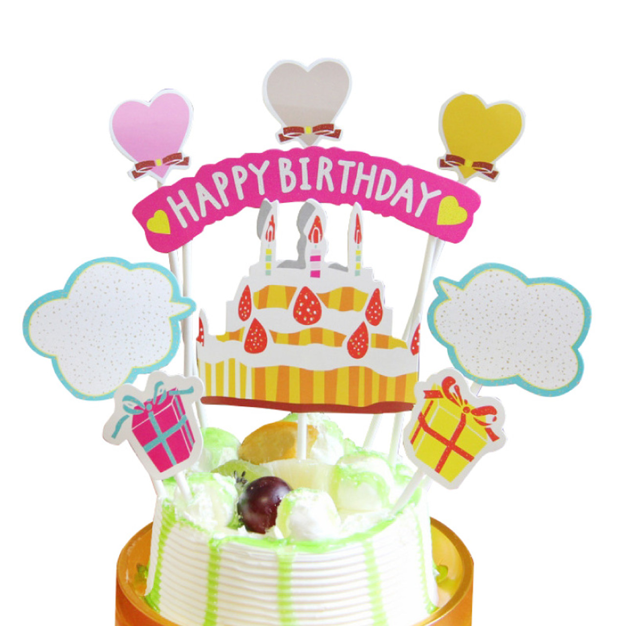 6pcs Happy Birthday Tulle Cake Topper Banner Party Cake Dessert Table Decor
