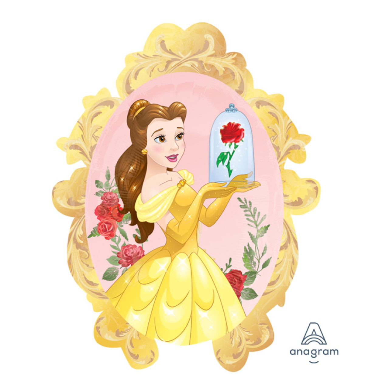 Party Disney Princess Beauty The Beast Princess Belle With Rose Foil Balloon 31inch Give Fun
