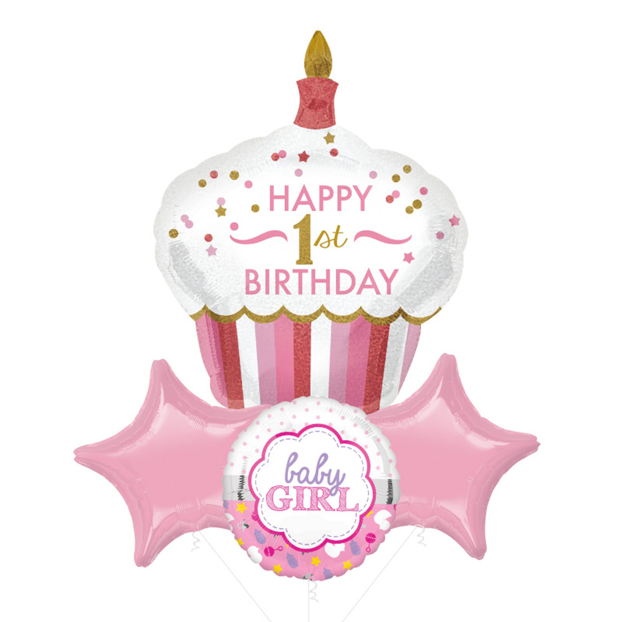 [Party] Happy 1st Birthday Cupcake Girl Star Foil Balloons Bouquet