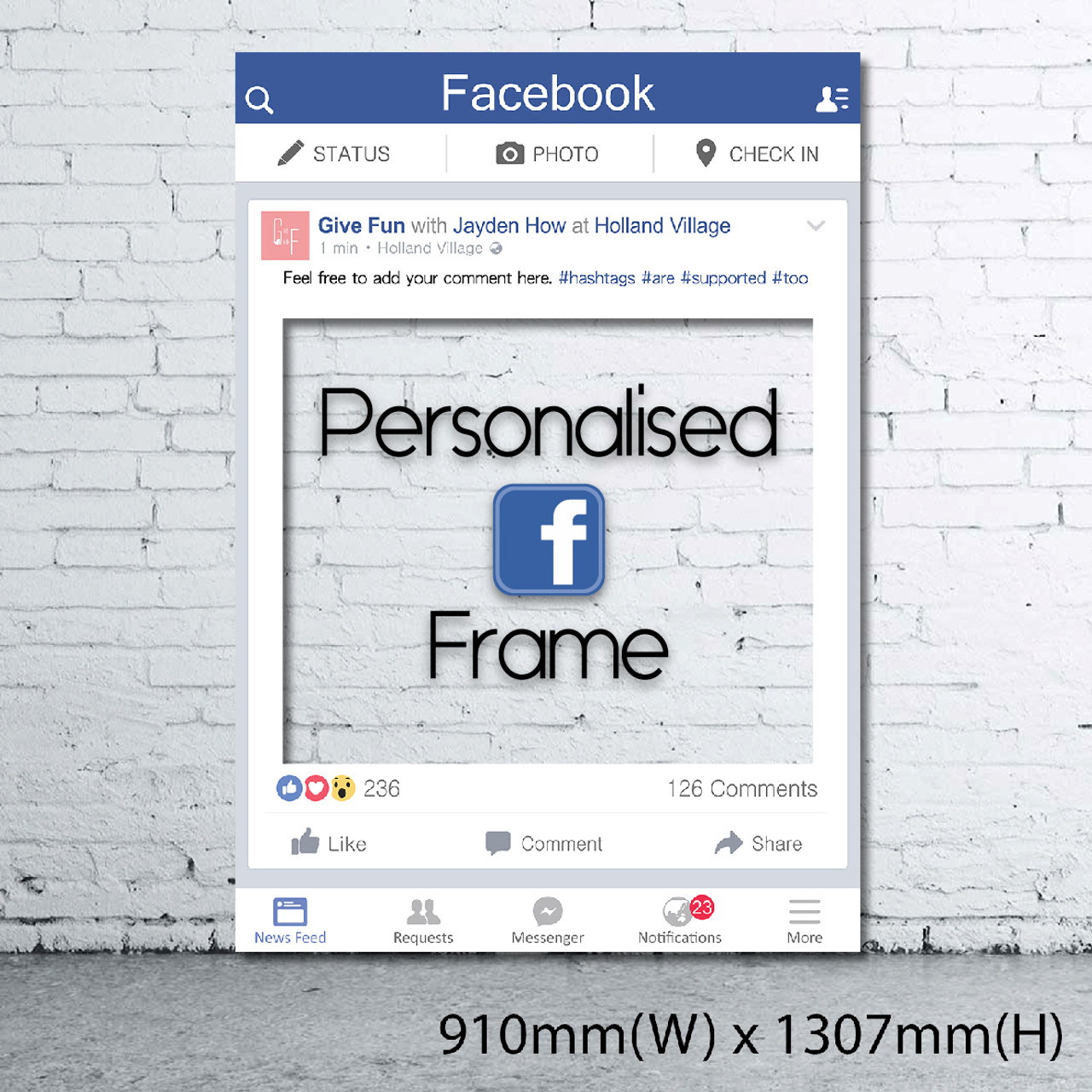 Personalized Facebook Frame - Giant size - Give Fun