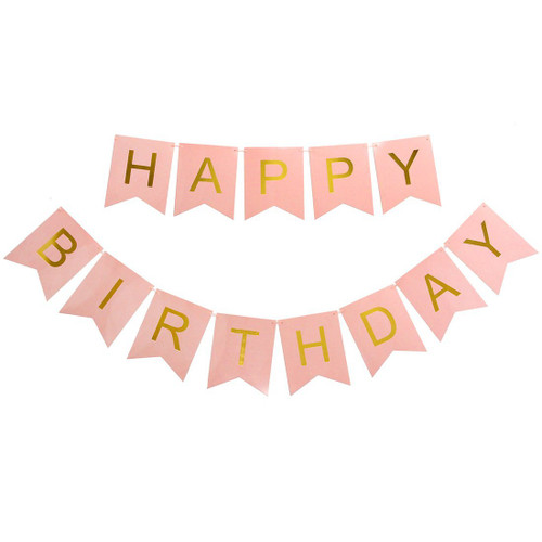 Classic Happy Birthday Bunting (2.5meter) - Pastel Pink